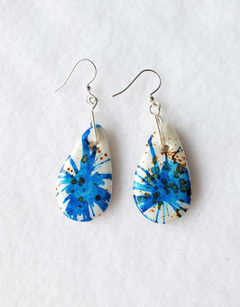Blue and Brown on White Painted Alcohol Ink Tear Drop Handcrafted Polymer Clay Earrings