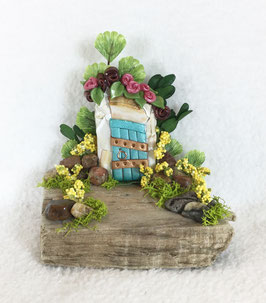 Teal & Beach Glass Miniature Fairy Door Garden