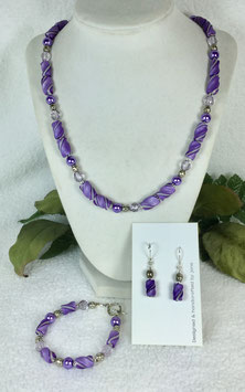 Purple and Pearl Twist Bead Necklace Set