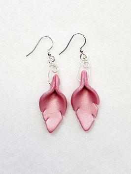 Pink Cut Leaf Polymer Clay Earrings