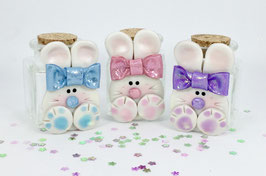 Cutie Bunny with Glittery Bow Heavy Clear Glass Jar