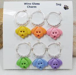 Multi-color Handcrafted Dog Wineglass Charm Set.