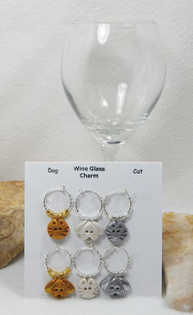 Mixed Dog and Cat Wine Glass Charm Set