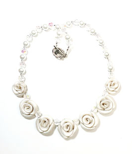 Glittery Pearl  White Rose Necklace Set
