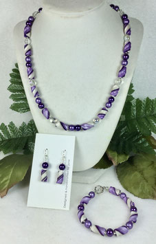 Two Shades of Purple Twist Bead Necklace Set
