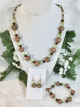 Copper and Green Strip Ball Necklace Set
