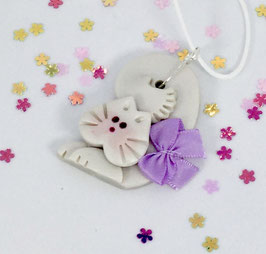 Adorable Handcrafted Polymer Clay Curly White Cat Pendant with Adjustable Cord perfect as a Gift for your favorite Girl!