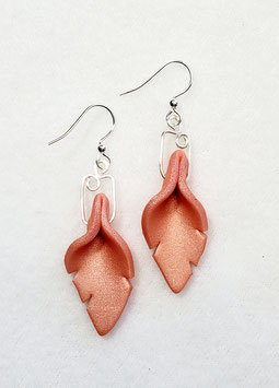 Peach Cut Leaf Polymer Clay Earrings
