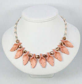 Peach Handcrafted Cut Leaf Necklace and Earrings