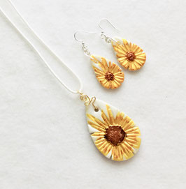 Yellow and Brown Sunflowers on a White Background Handcrafted Polymer Clay Pendant and Earrings
