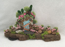 Teal & Pebble Miniature Fairy Door Garden