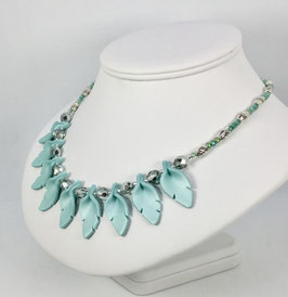 Teal Cut Leaf Necklace and Earrings Handcrafted Polymer Clay