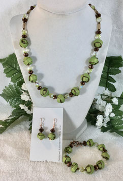 Green and Copper Strip Ball Necklace Set