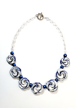 Dark Blue and Pearl White Rose Handcrafted Polymer Clay Necklace and Earrings