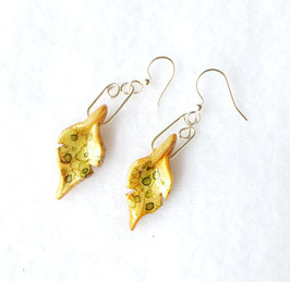 Tiny Gold and Green Painted Alcohol Ink Leaf Handcrafted Polymer Clay Earrings