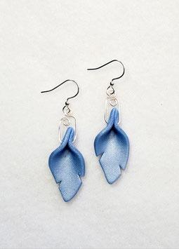 Blue Cut Leaf Polymer Clay Earrings