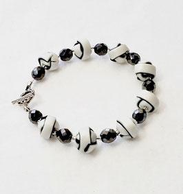 Black and White Strip Ball Bead Bracelet
