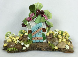 Teal Miniature Fairy Door Garden