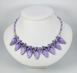Handcrafted Purple Leaf Necklace and Earrings