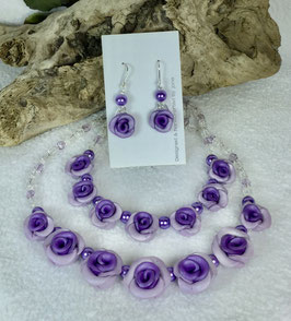 Two-toned Purple Rose Necklace Set