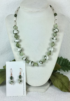 Pearl, Green and Brass Strip Ball Necklace Set