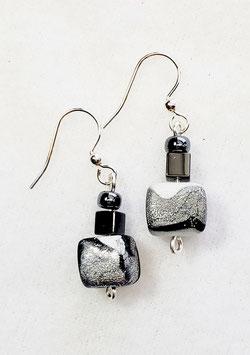 Black White Silver Swirled Cube Bead Earrings