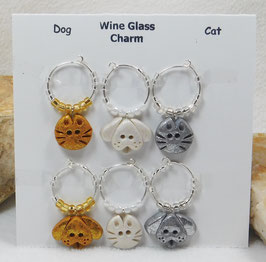Dog and Cat Mixed Wineglass Charm Set.