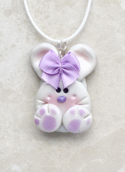 Cutie Bunny with Purple Satin Bow on Adjustable Cord Pendant