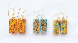 Alcohol Ink Rectangle Polymer Clay Earrings