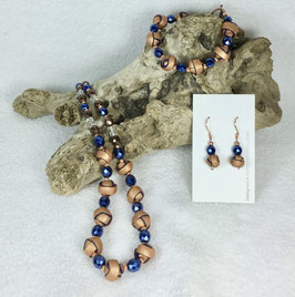 Copper and Blue Strip Ball Necklace Set