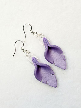 Purple Cut Leaf Polymer Clay Earrings