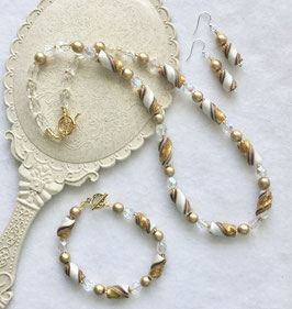 Glittery Gold Twist Bead Necklace Set Handcrafted Polymer Clay