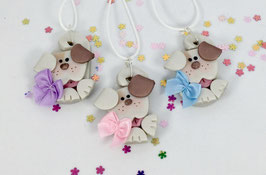 Adorable Handcrafted Polymer Clay Curly Dog Pendant with Adjustable Cord perfect as a Gift for your favorite Girl!