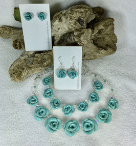 Glittery Soft Teal Rose Necklace Set