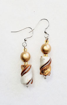 Gold and Pearl White Twisted Bead Earrings