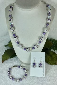 Pearl and Purple Strip Ball Necklace Set