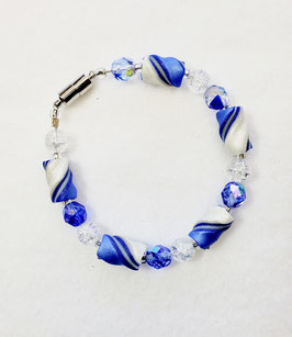 Blue and White Twist Bead Bracelet