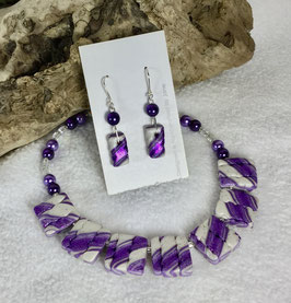 Glittery Purple and Pearl Twist Square Necklace Set