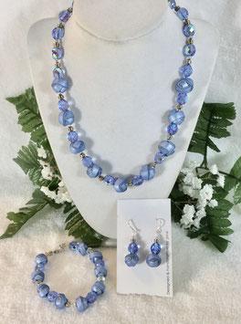 Blue Strip Ball Necklace Set