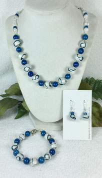 Glittery Pearl and Teal Strip Ball Necklace Set