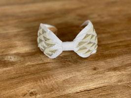 Haarband weiss mit Perlen und Silber
