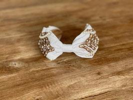 Haarband weiss mit Perlen und Gold