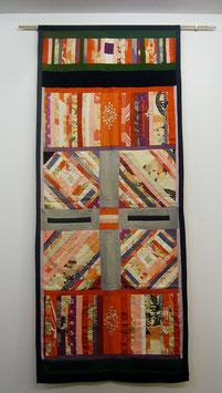 handgearbeitete Patchwark aus alte KIMONO Tapestry
