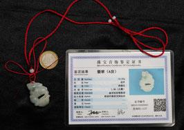 Jade Jadeita - Jadeite certificado/ Certified 100% Natural (grado A) Conejo - Rabbit 玉
