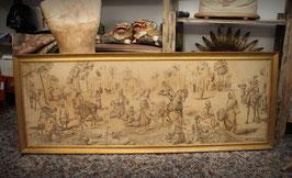 Antiguo tapiz enmarcado con escena arabesca