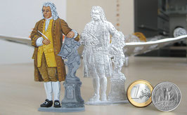 Johann Sebastian Bach as a flat tin by an artist HANDPAINTED