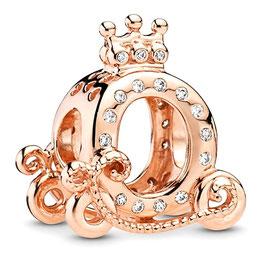 Charm Carosse de Princesse aux Diamant d'or Rose