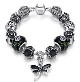 Bracelet Charm'S  Black Libellule - Argent Plaqué