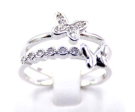 Bague Femme Butterfly Or Blanc