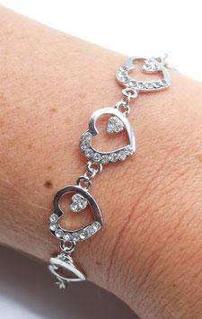 Bracelet Femme Mix Cœur Argent